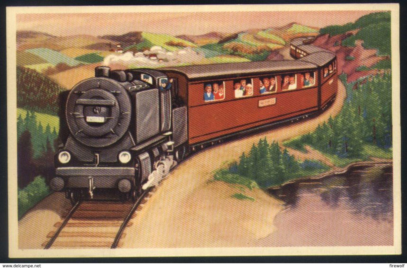 Z06 - Fantasy Card Unused - Steam Train Near Lake - Schienenverkehr