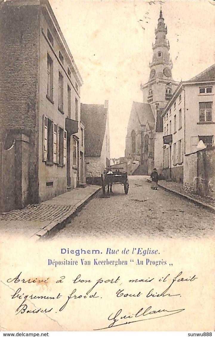 Dieghem - Rue De L'Eglise (animée, 1905...pli) - Diegem