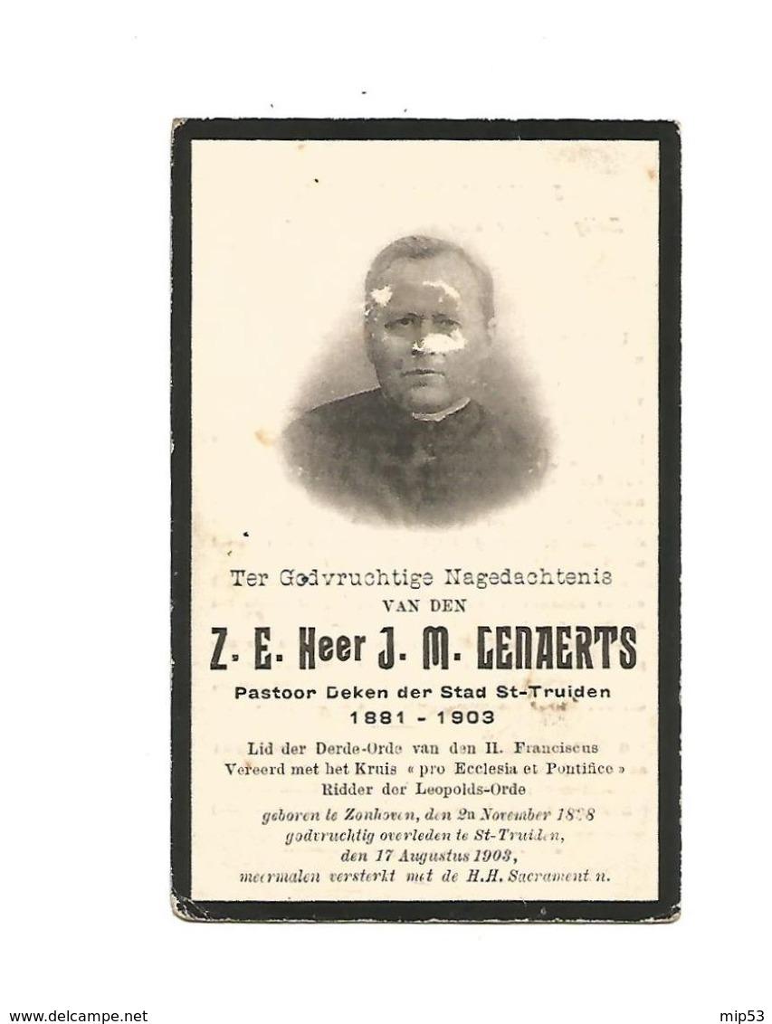 """P 343. Z.E. Heer J.M.GENAERTS -Pastoor-Deken ST-TRUIDEN-Lid Derde Orde / """"pro Ecclesia Et Pontifice""""-°ZONHOVEN1838/+1903 - Imágenes Religiosas"""