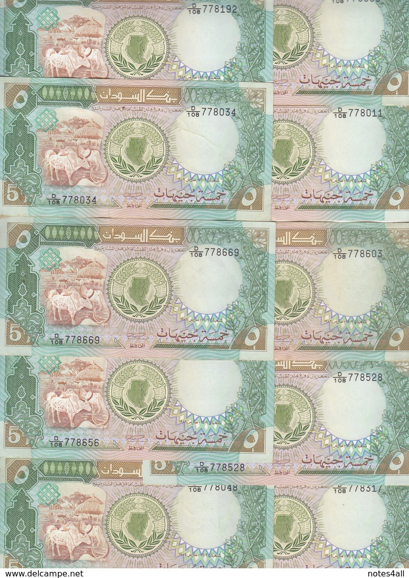 SUDAN 5 POUND 1989 P- 40b Lot X10 EF/VF CRISP Notes */* - Soudan