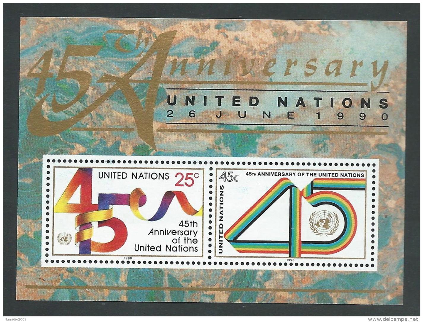 1990 NAZIONI UNITE FOGLIETTO NEW YORK 45 ANNIVERSARIO MNH ** - R50-10 - Ungebraucht