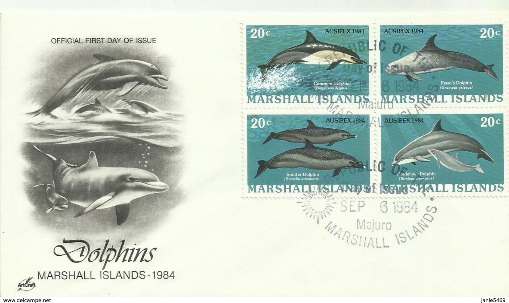 Marshall Islands 1984 Ausipex Dolphins,souvenir Cover - Marshall Islands
