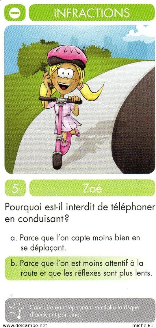 1 Carte D'un Jeu De 7 Familles (Zoé) / Infractions / Vélo Bicyclette Cyclisme Bicycle Téléphone - Cartes à Jouer