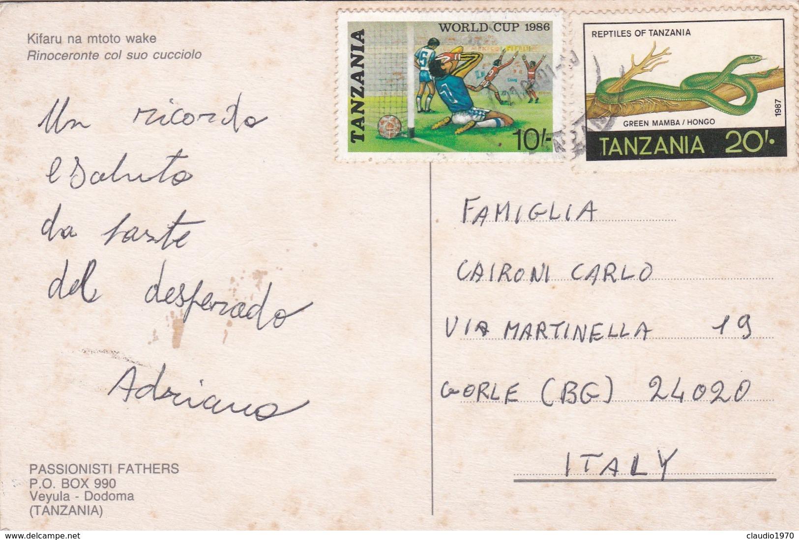 CARTOLINA - POSTCARD - TANZANIA - KIFARU NA MTOTO WAKE - RINOCERONTE COL SUO CUCCIOLO - Tanzania
