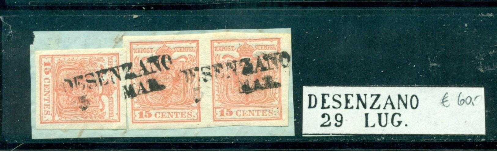 Lombadei Und Venetien, Wappenzeichnung Nr. 3, Auf Briefstück, Stempel Desenzano, Paar - 1850-1918 Imperium
