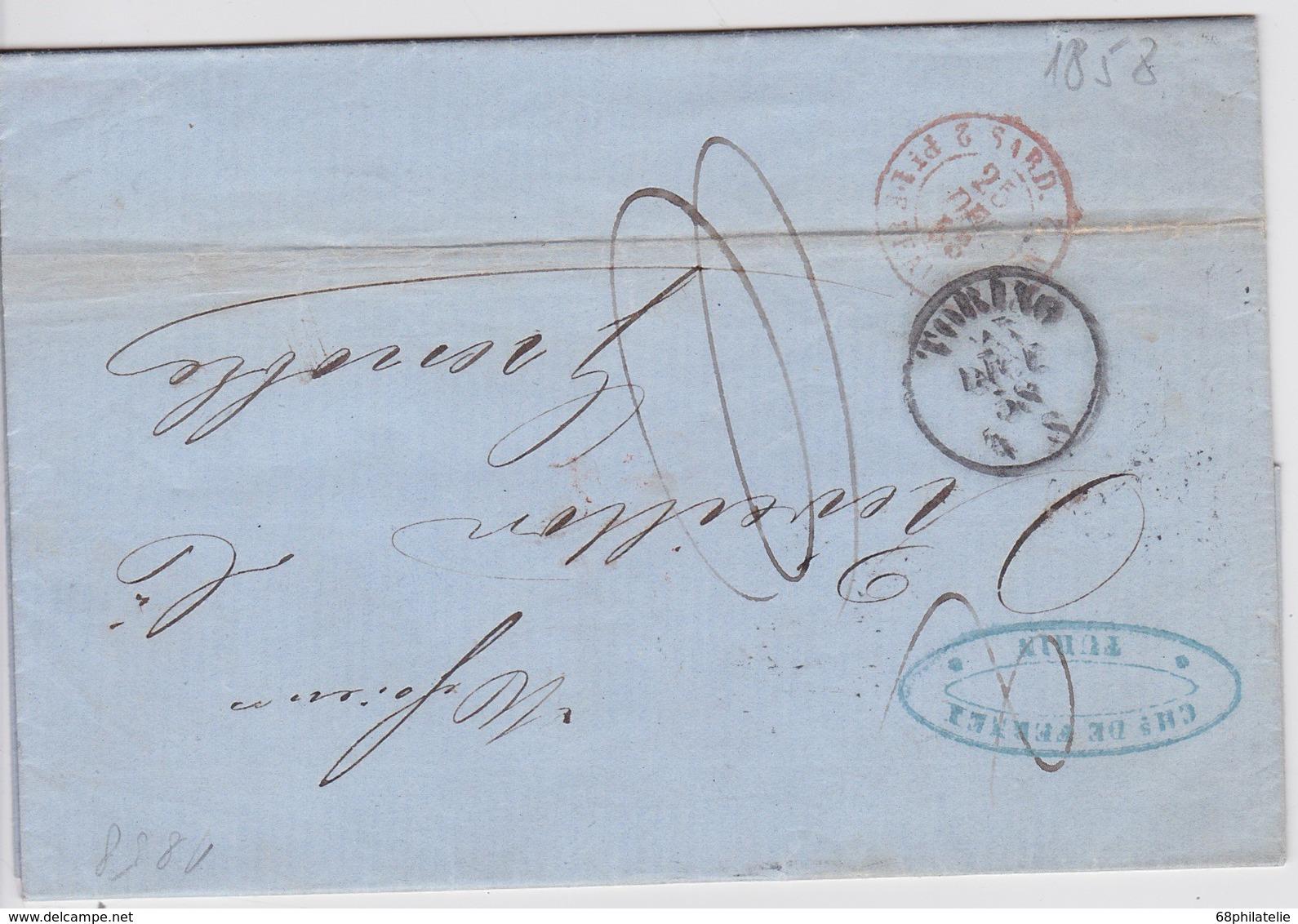 ITALIE 1858 LETTRE AVEC CACHET ENTREE LE PONT DE BEAUVOISIN - Marcophilie (Lettres)