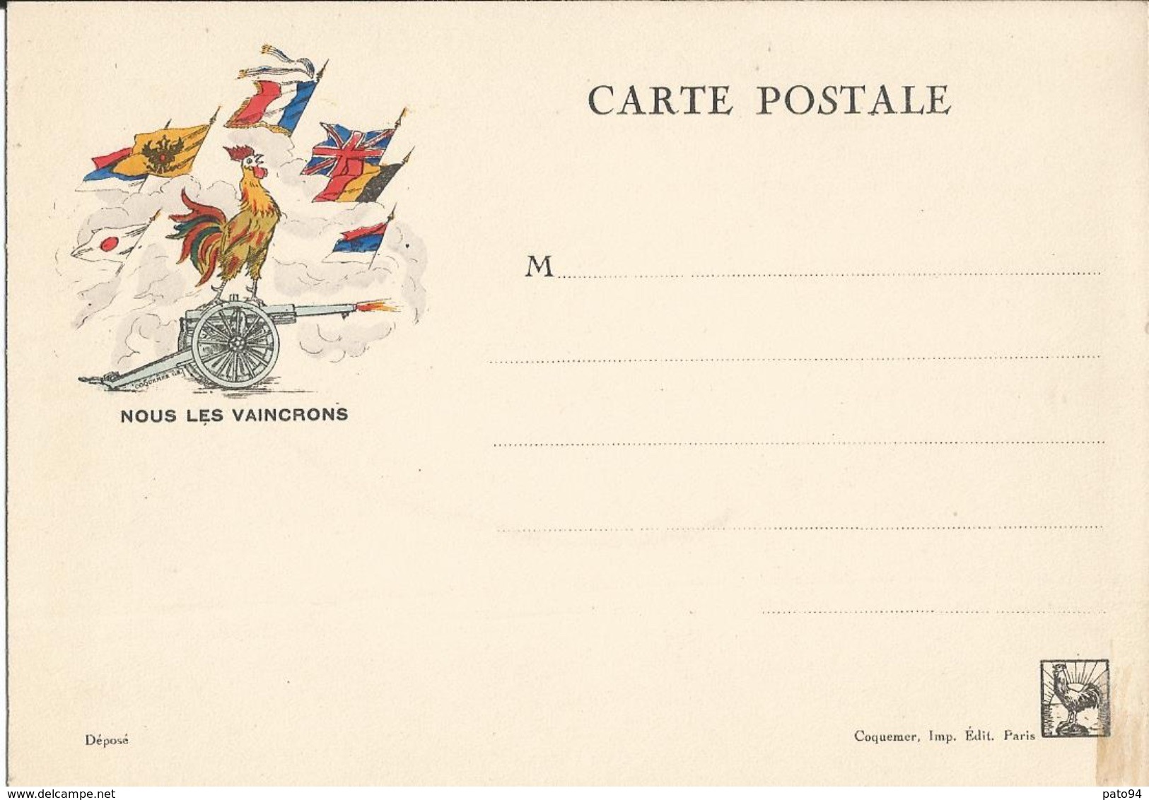 """CARTE  FRANCHISE  MILITAIRE  """" NOUS  LES  VAINCRONS """"  /  Coq  Canon  7  Drapeaux - Marcophilie (Lettres)"""