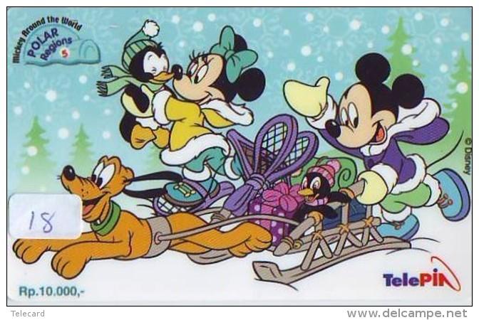 Télécarte  NEUVE DISNEY * INDONESIA (18) MINT Phonecard INDONESIE * MICKEY & PLUTO * 0015-0535-01484 * TELEFONKARTE - Disney