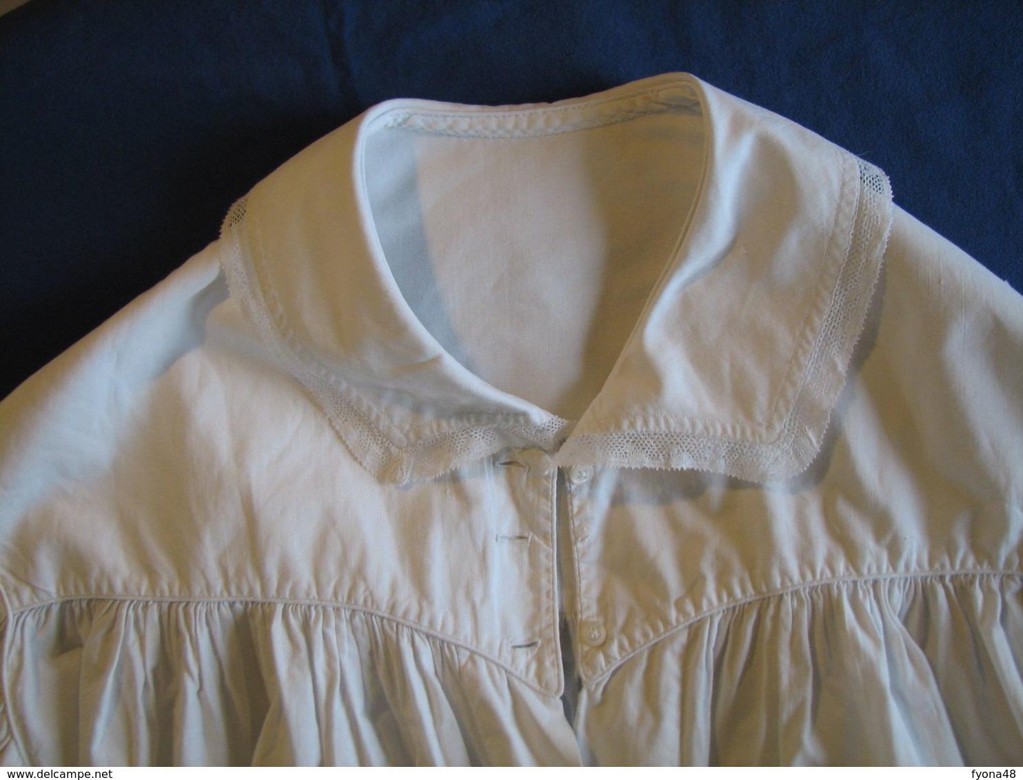 42 - Chemise En Coton Fin Ou Lin Avec Ceinture - 1900-1940