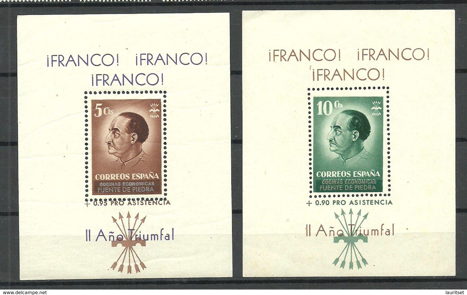Espana Spain Spanien 1937 Civil War GUERRE CIVILE Franco Blocks 5 & 10 Cts. MNH - Blocks & Sheetlets & Panes