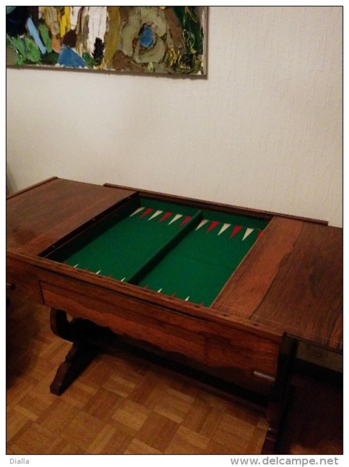 Table De Jeu, Acajou Maquetterie, Style  Biedermeier D'époque, +- 1830 - Meubles