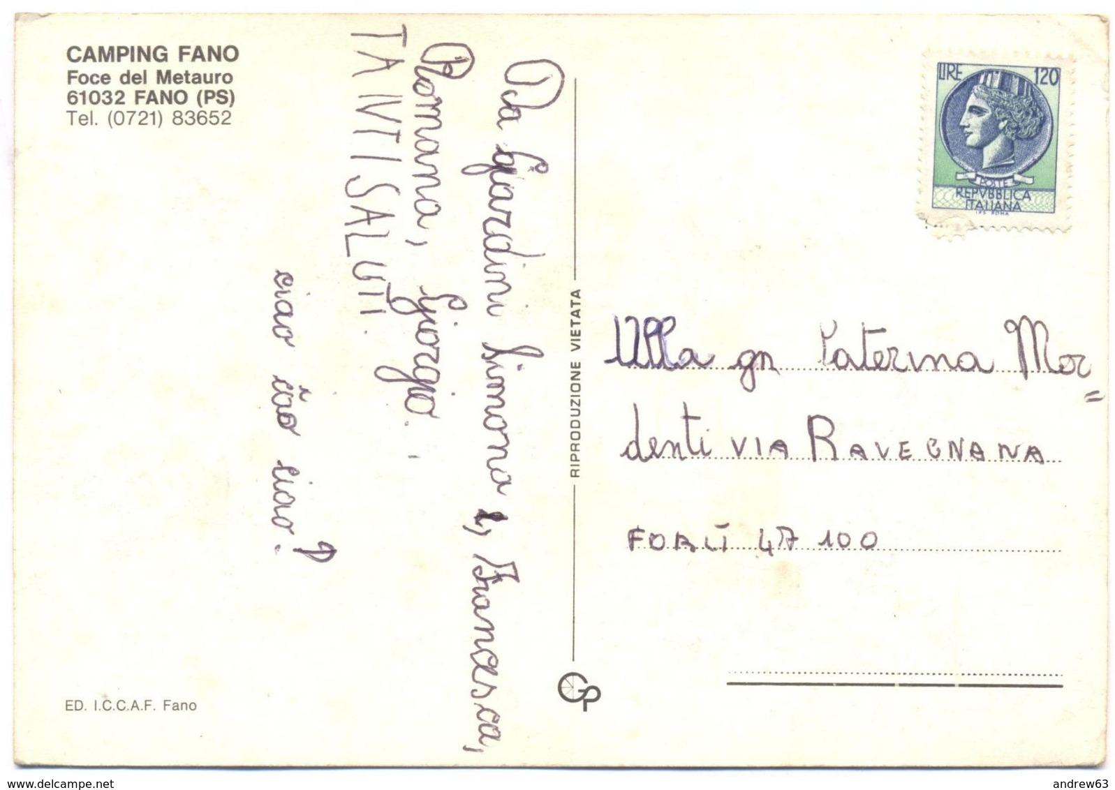 ITALIA - ITALY - ITALIE - 1978 - 120 Siracusana - Fano - Camping Fano, Foce Del Metauro - Viaggiata Da Fano Per Forlì - Fano