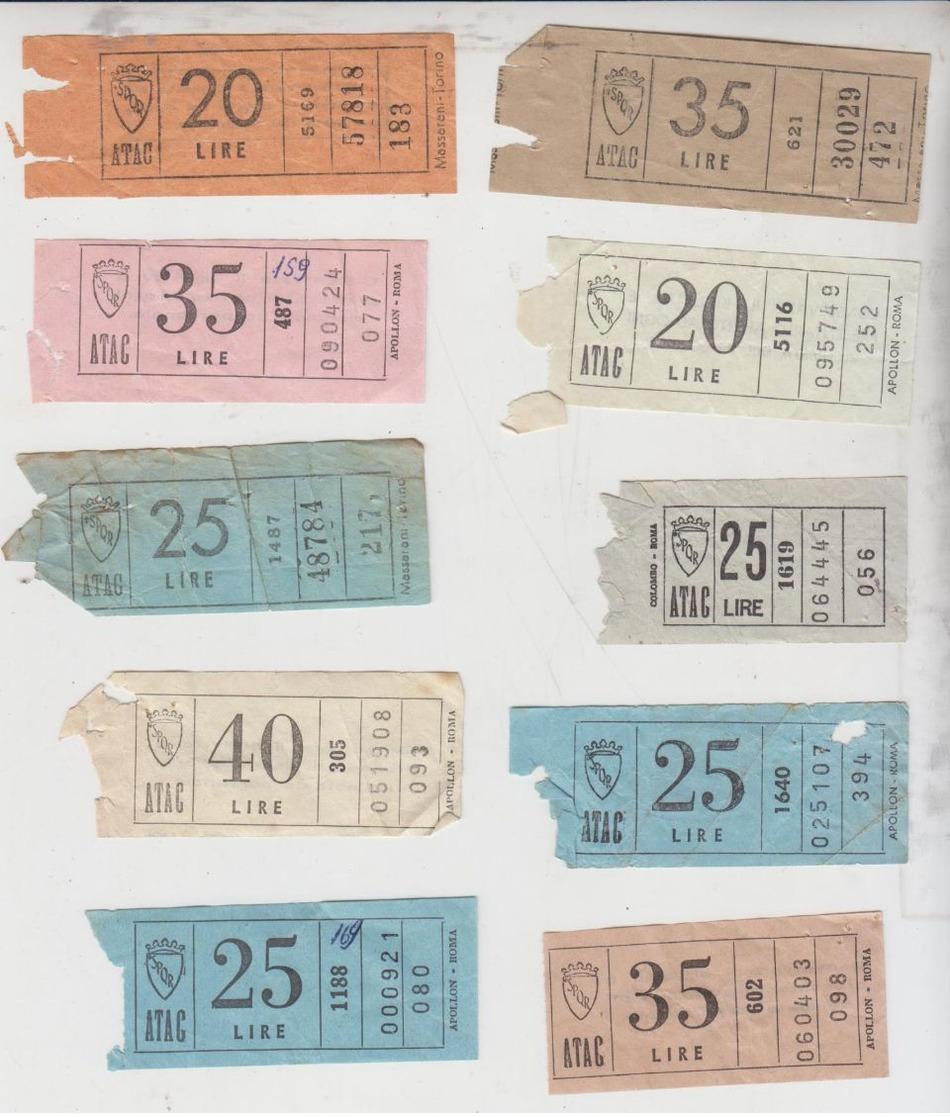 Biglietto Ticket  Bus Atac Roma Lotto 10 Biglietti Vari Tagli - Europa