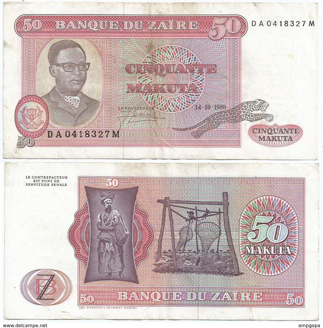 Zaire 50 Makuta 1980, Firma 3 Pick 17.b Ref 1399 - Zaire