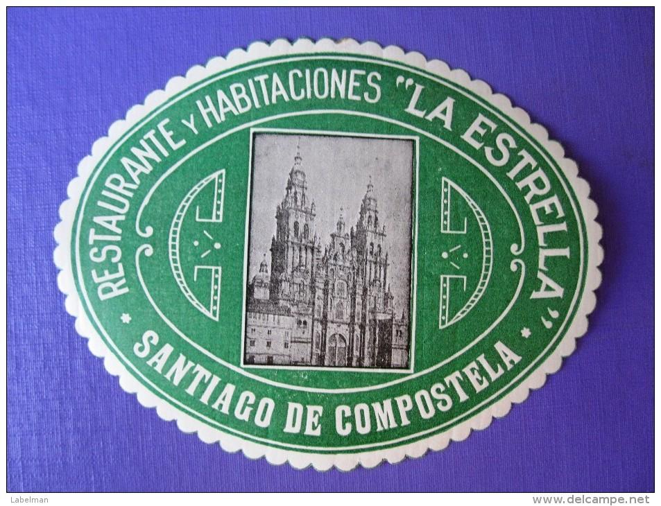HOTEL RESIDENCIA PENSION HOSTAL STAR ESTRELLA COMPOSTELA SPAIN LUGGAGE LABEL ETIQUETTE AUFKLEBER DECAL STICKER MADRID - Hotel Labels