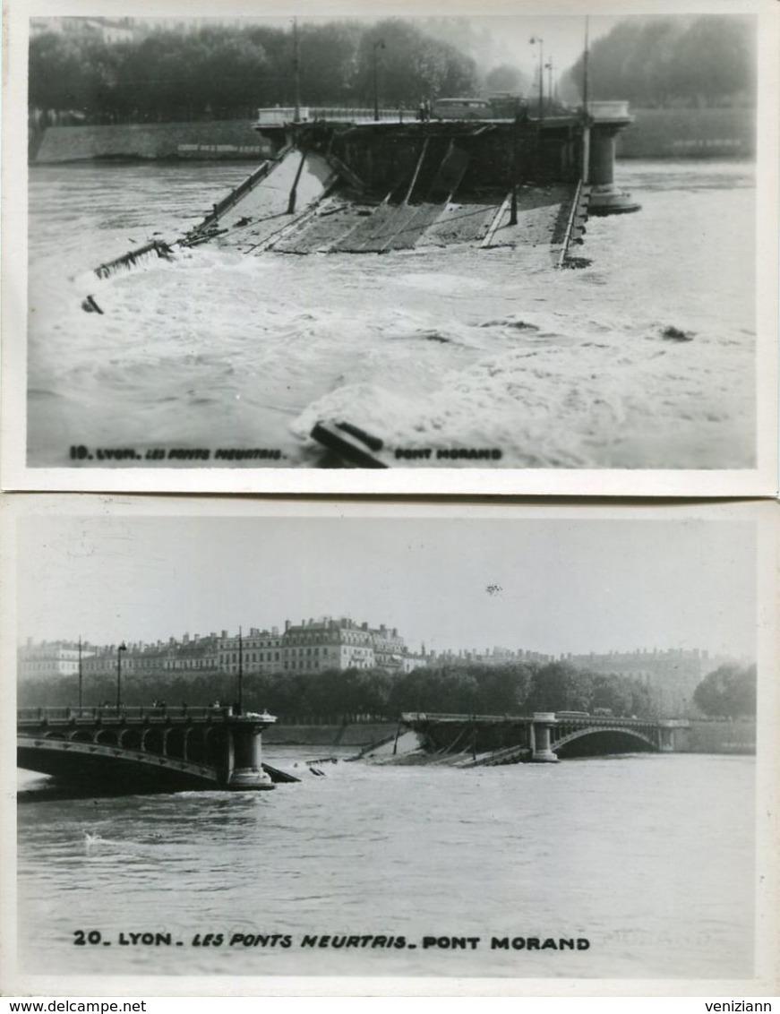 Lot De 2 Cartes Photos - LYON - Les Pont Meurtris - Le Pont Morand - Guerra 1939-45