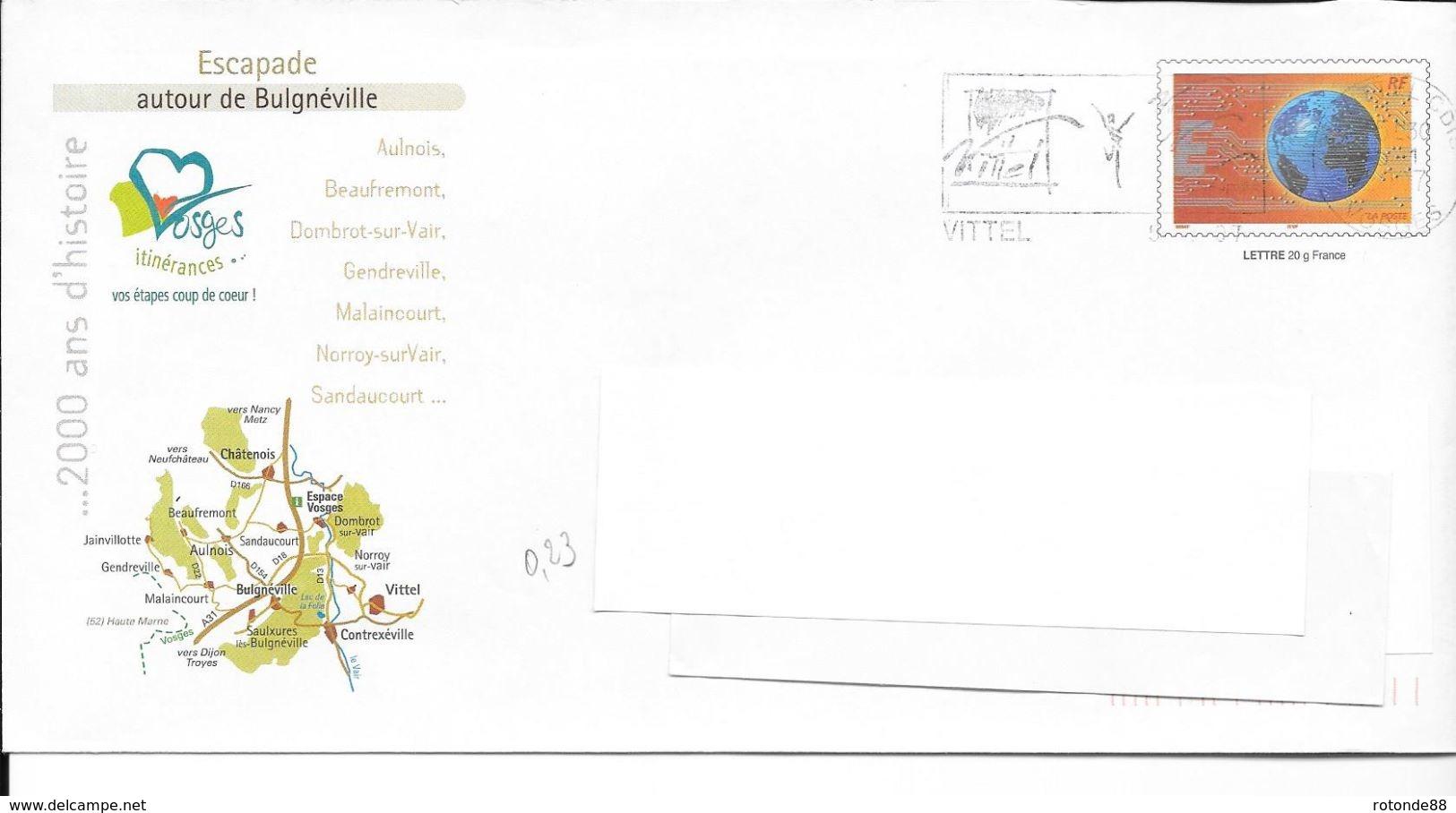 Belle Enveloppe Prépayée    Bulgnévtlle88  023 - Postmark Collection (Covers)