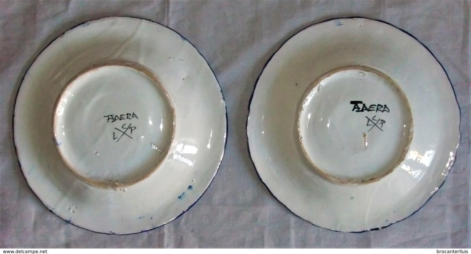 2 ANTIGUOS PLATOS DE CERÁMICA CON DON QUIJOTE Y SANCHO PANZA- 2 OLD CERAMIC PLATES WITH DON QUIXOTE AND SANCHO PANZA - Talavera/Toledo (ESP)