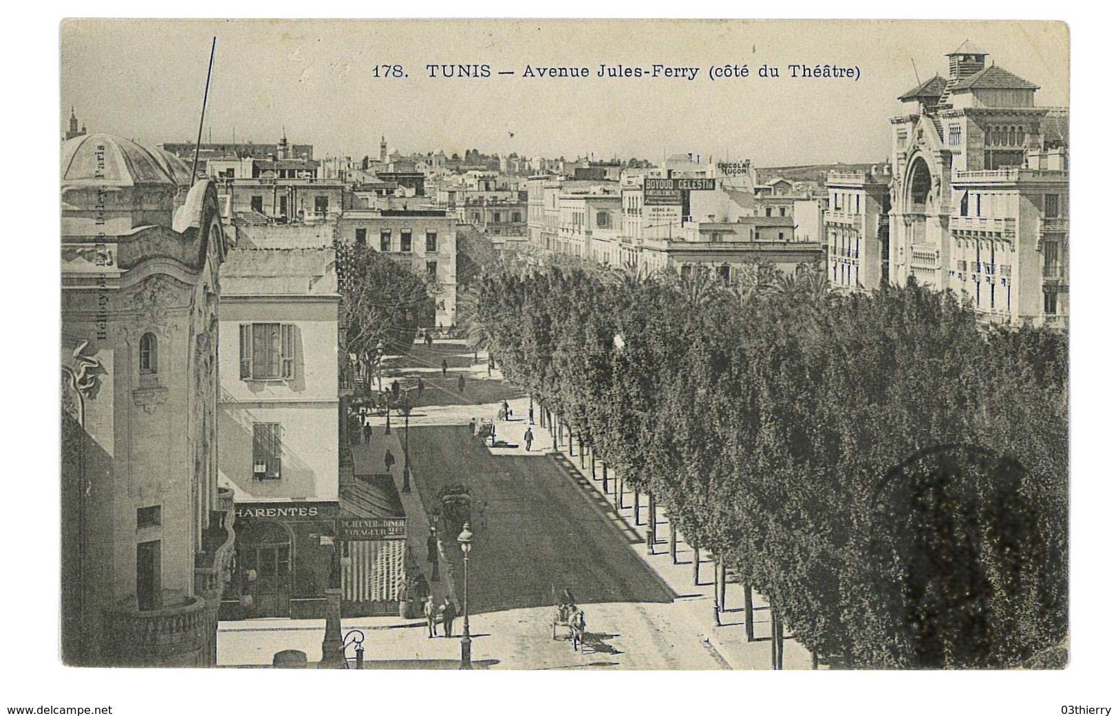 CPA TUNISIE TUNIS AVENUE JULES FERRY - Tunesië