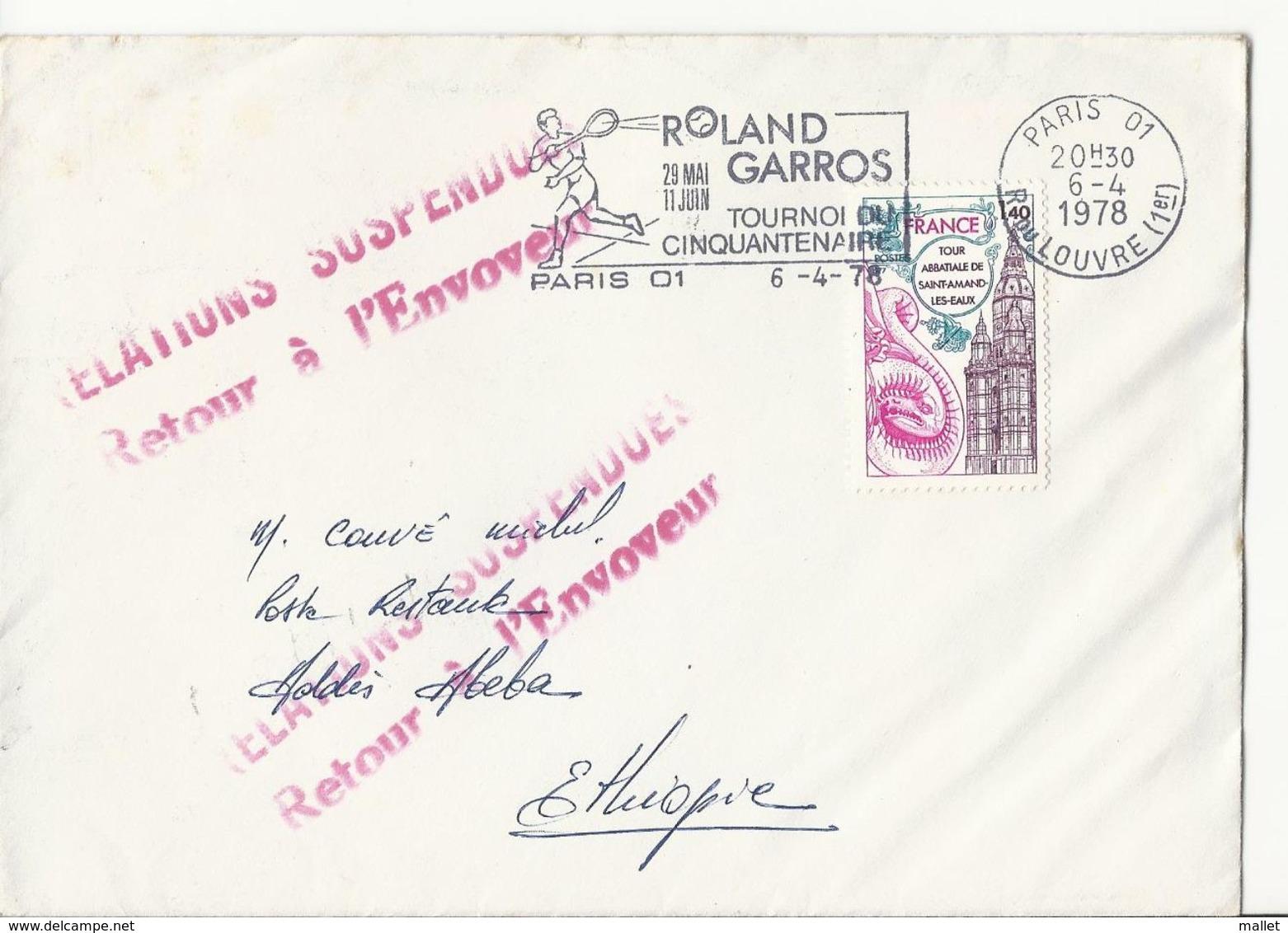 Double Cachet Rose RELATIONS SUSPENDUES Retour à L'Envoyeur Sur Lettre Vers L'Ethiopie, En Poste Restante - 1978 - 1961-....