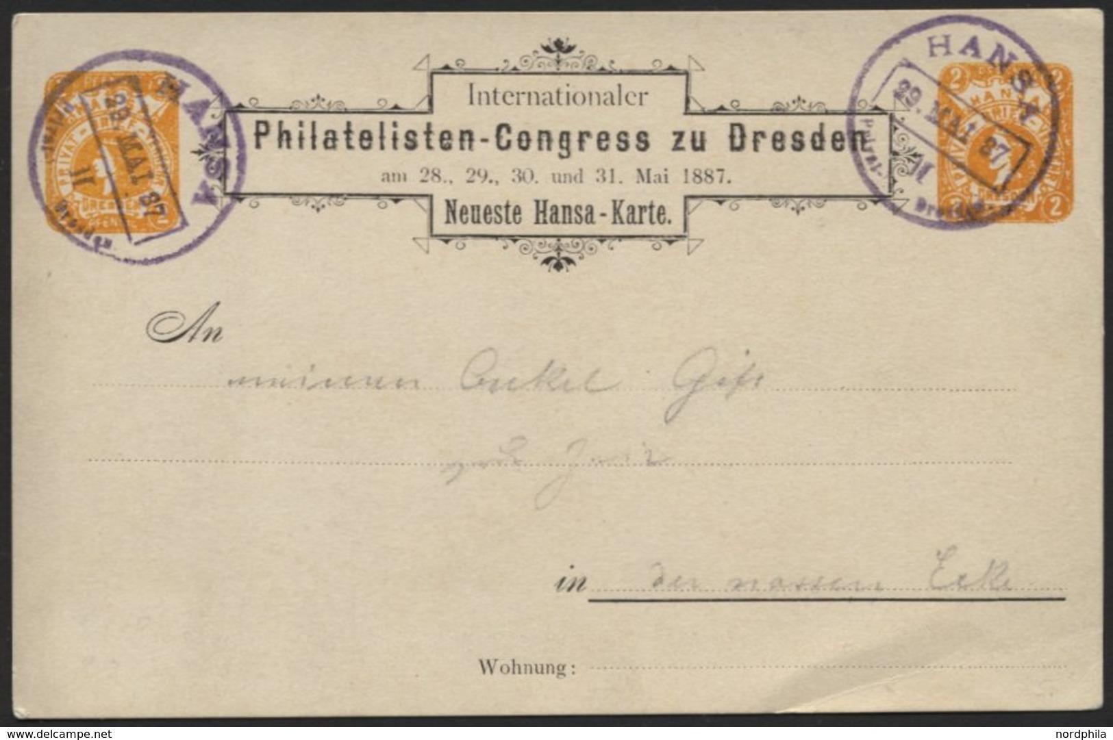 DRESDEN C P 3 BRIEF, HANSA: 1887, 2 Pf. Philatelisten-Kongreß Mit Violettem Datumsstempel HANSA II Auf Prachtkarte - Privatpost