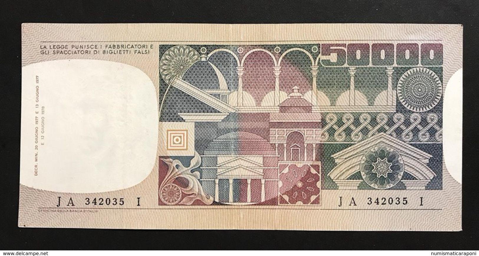 50000 Lire Volto Di Donna 1978 Raro Bb/spl  LOTTO 377 - [ 2] 1946-… Republik