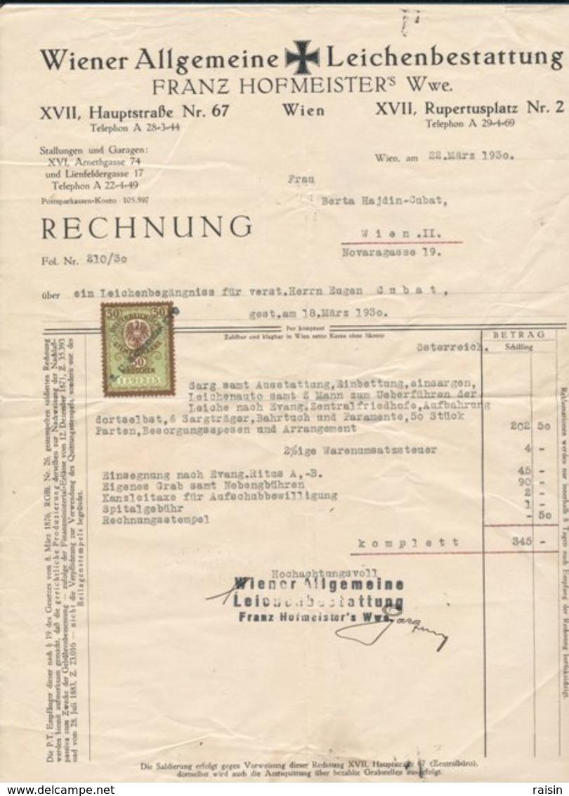 2 Factures De Frais D'obsèques Du 18 Mars 1930 - Autriche