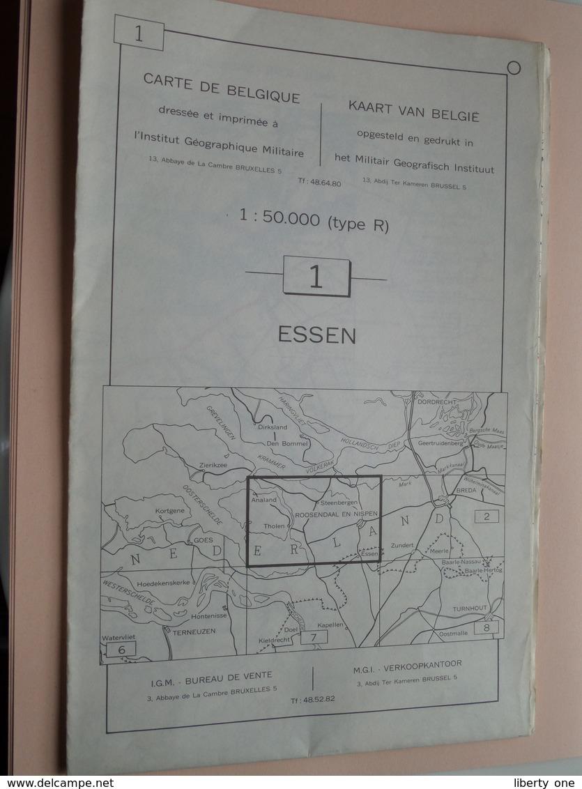 ESSEN ( Nr. 1 ) Anno 1962 - Schaal / Echelle / Scale 1: 50.000 ( Stafkaart : Zie Foto's ) ! - Mapas Geográficas