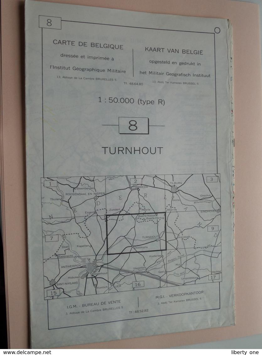 TURNHOUT ( Nr. 8 ) Anno 1962 - Schaal / Echelle / Scale 1: 50.000 ( Stafkaart : Zie Foto's ) ! - Geographical Maps