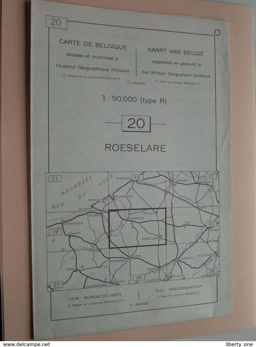 ROESELARE ( Nr. 20 ) Anno 1962 - Schaal / Echelle / Scale 1: 50.000 ( Stafkaart : Zie Foto's ) ! - Geographical Maps