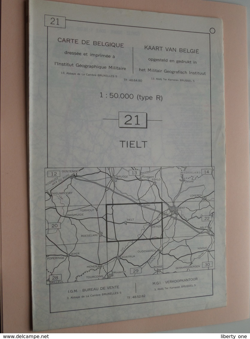 TIELT ( Nr. 21 ) Anno 1962 - Schaal / Echelle / Scale 1: 50.000 ( Stafkaart : Zie Foto's ) ! - Geographical Maps