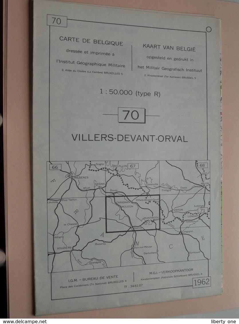 VILLERS-DEVANT-ORVAL ( Nr. 70 ) Anno 1962 - Schaal / Echelle / Scale 1: 50.000 ( Stafkaart : Zie Foto's ) ! - Geographical Maps
