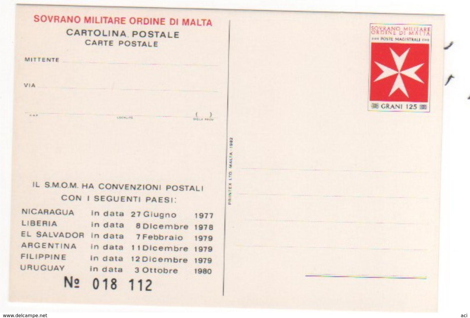 Sovrano Military Order Of Malta 125 Gr Mint Postal Card - Malte (Ordre De)