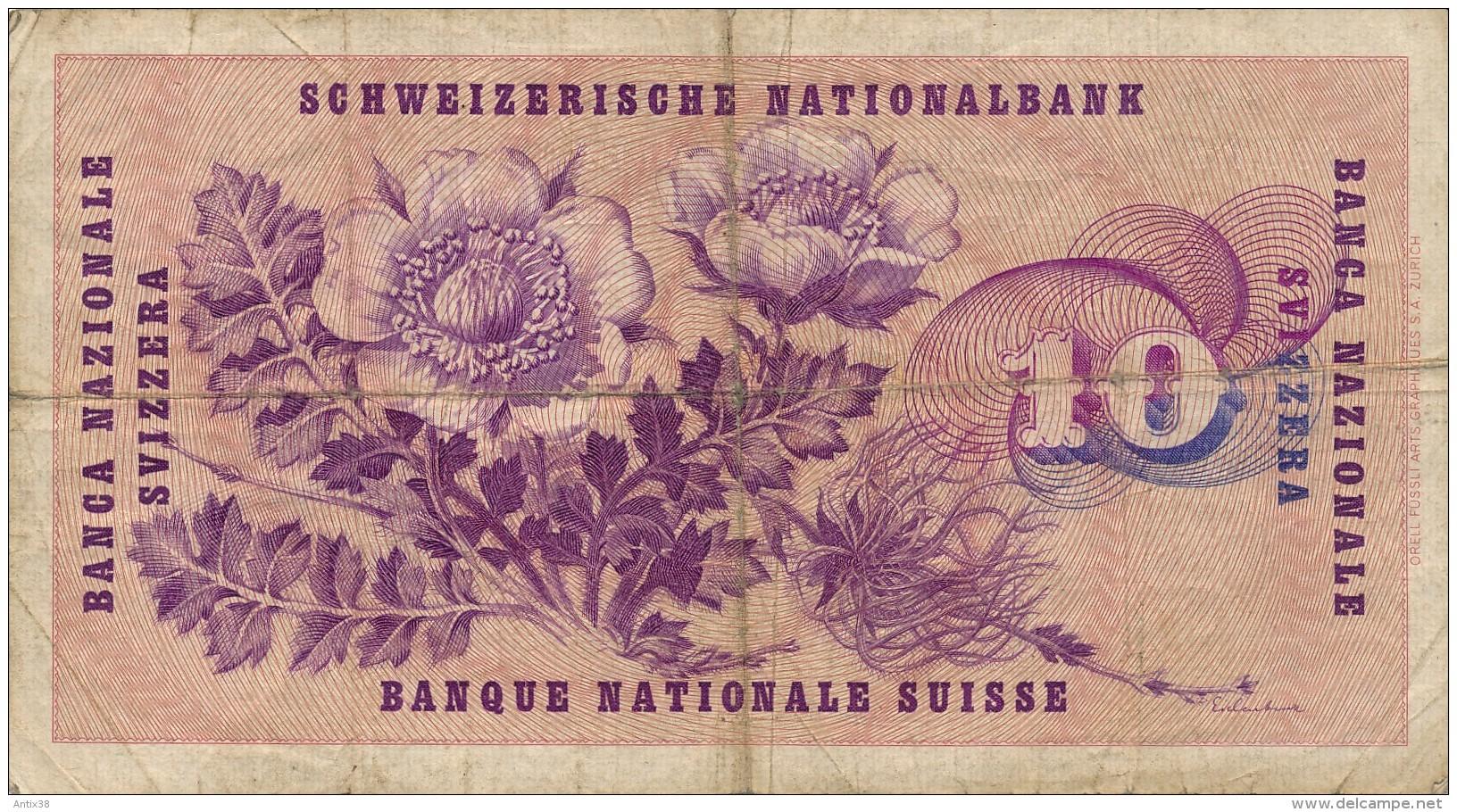 H31 - SUISSE - Billet 10 Francs - 1955 - Suiza