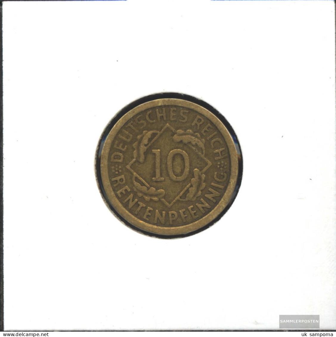 German Empire Jägernr: 309 1924 E Very Fine Aluminum-Bronze Very Fine 1924 10 Rentenpfennig Spikes - Yugoslavia