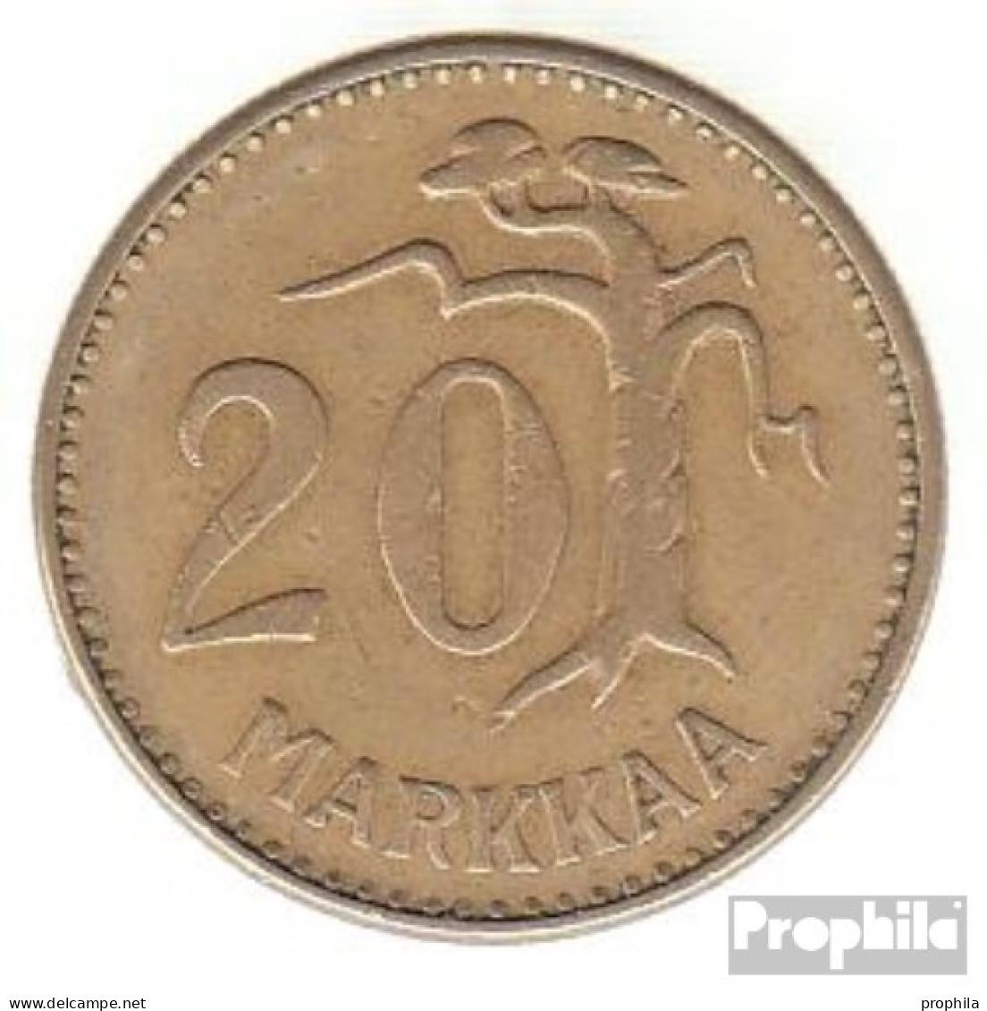Finnland KM-Nr. : 39 1954 Sehr Schön Aluminium-Bronze Sehr Schön 1954 20 Markkaa Löwe Im Kreis - Finnland