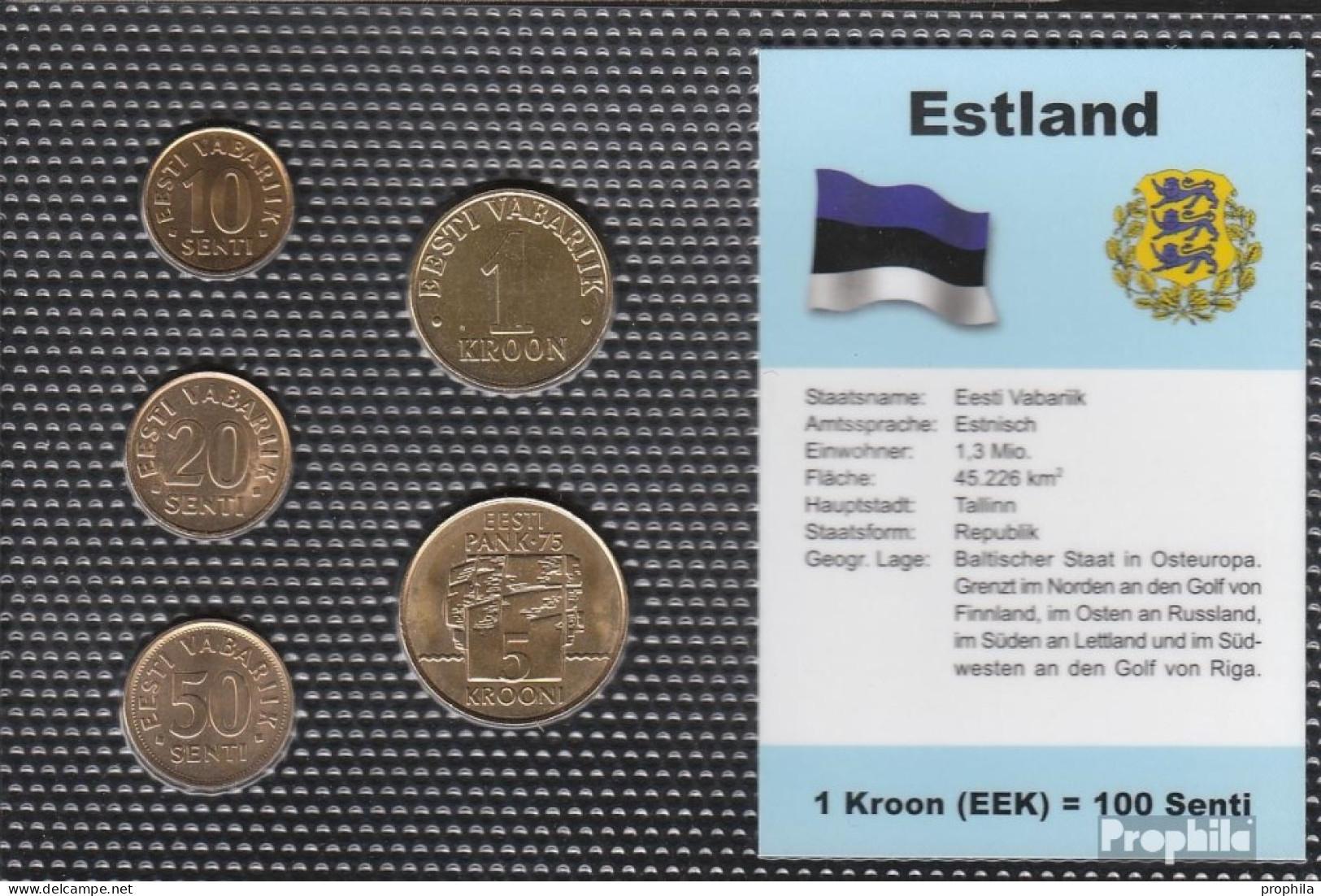 Estland Stgl./unzirkuliert Kursmünzen Stgl./unzirkuliert 1992-2004 10 Senti Bis 5 Krooni - Estonie
