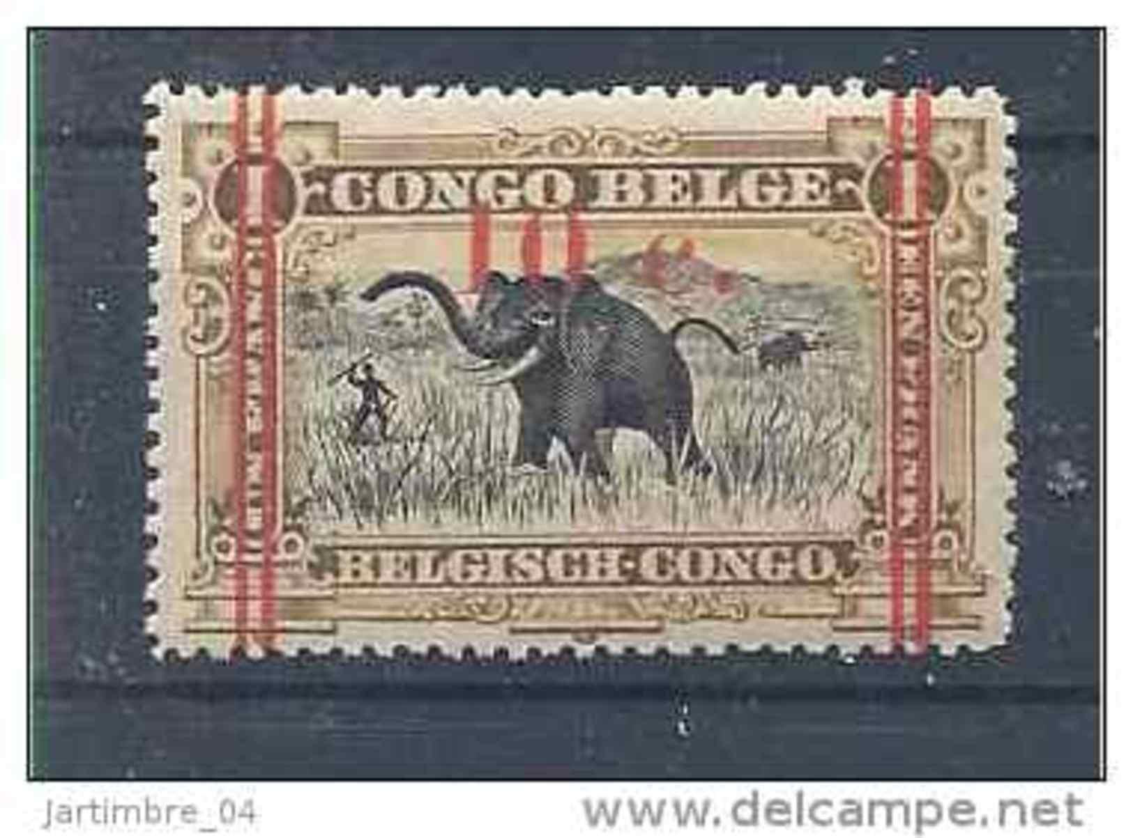 1922-23 CONGO Belge 101** Eléphant, Surchargé - 1894-1923 Mols: Mint/hinged