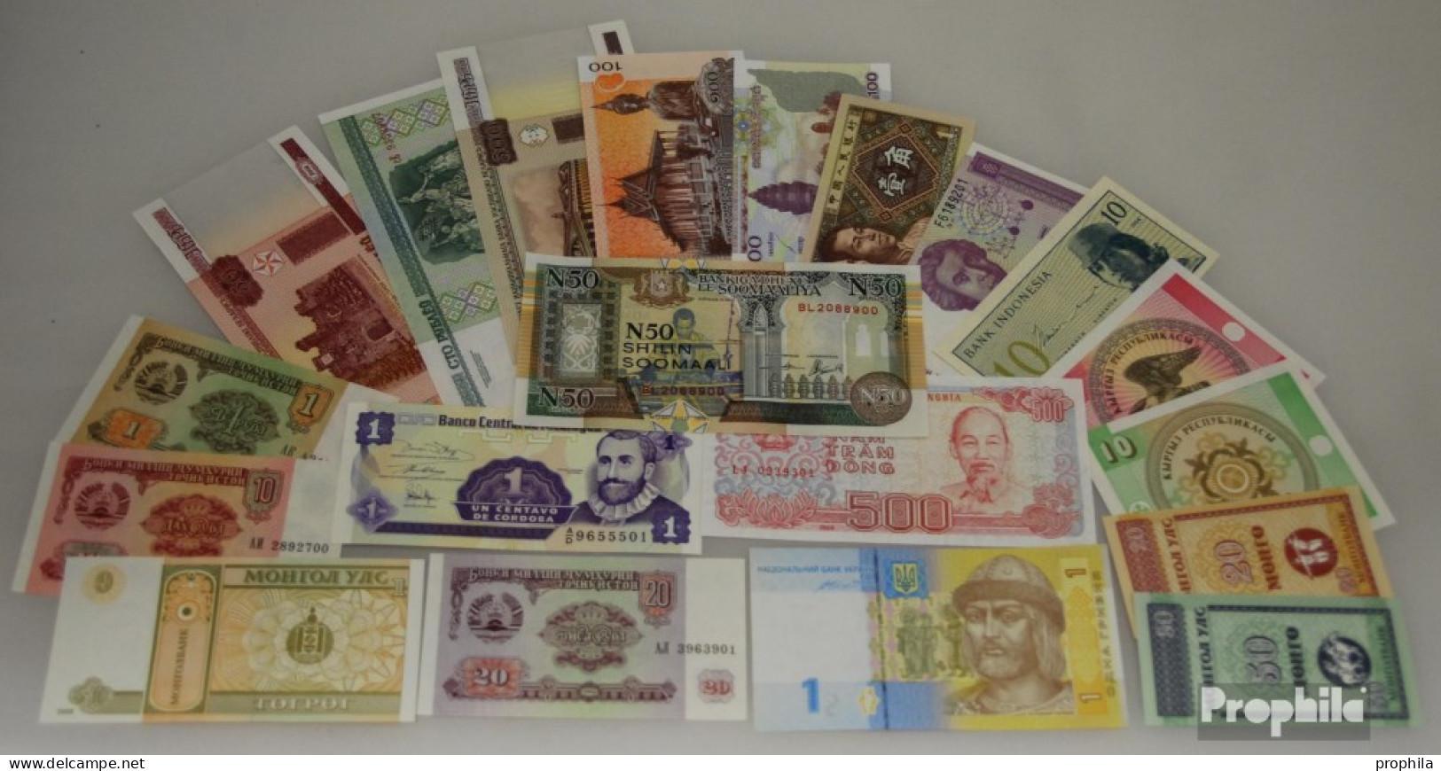Alle Welt 20 Verschiedene Bankfrische Banknoten Bankfrisch - Billets