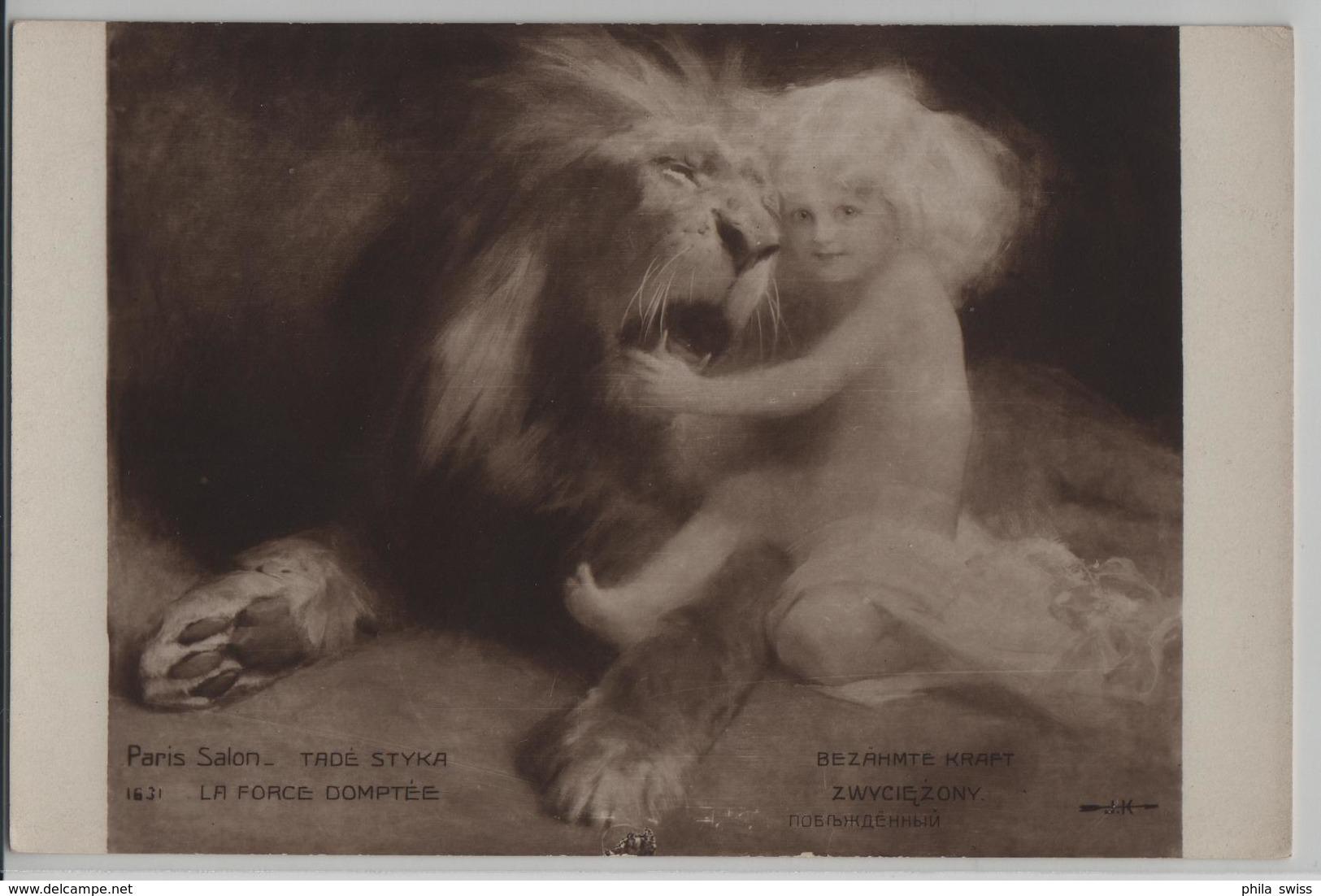 Löwe Mit Kind, Lion With Child  - La Force Domptee, Bezähmte Kraft - Tade Styka Paris Salon - Lions