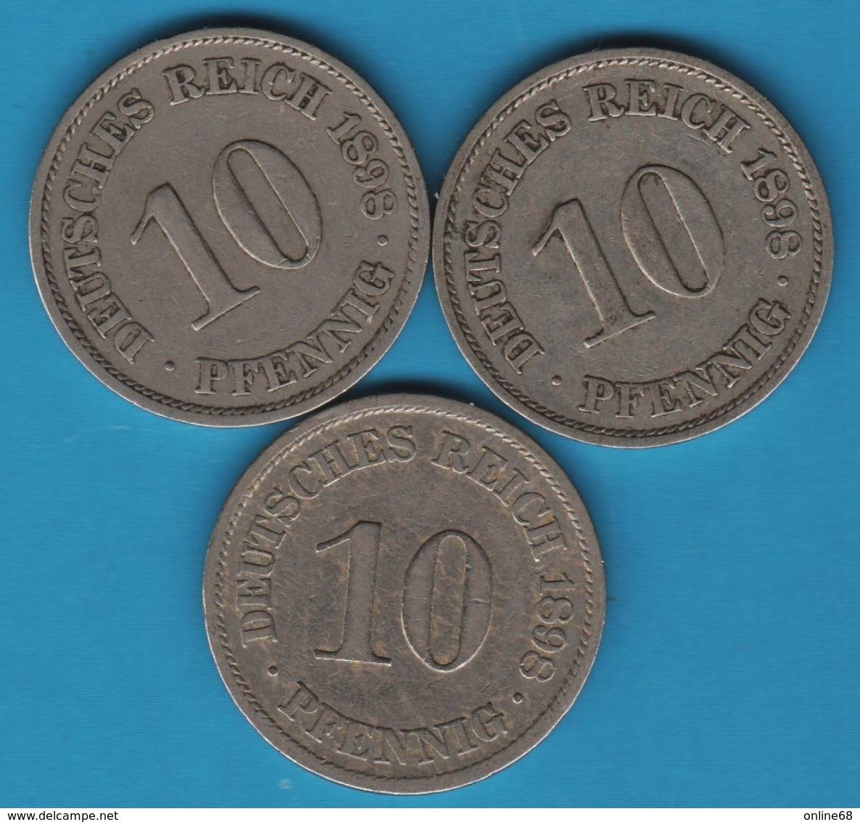 DEUTSCHES REICH LOT 3 X 10 PFENNIG 1898 A - [ 2] 1871-1918 : German Empire