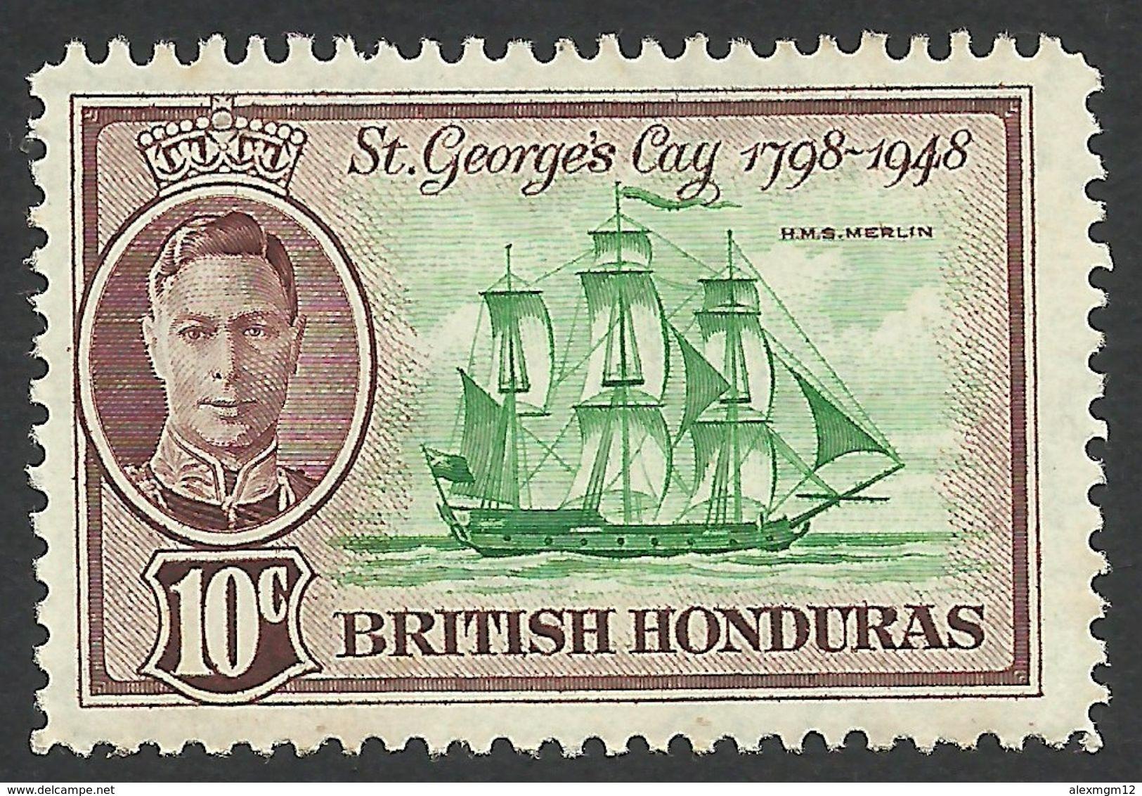 British Honduras, 10 C. 1949, Sc # 135, MH. - British Honduras (...-1970)