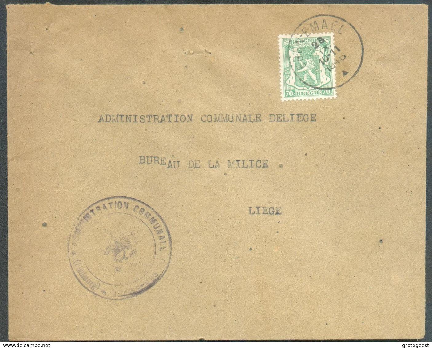 70c. Sceau De L'Etat Obl. Sc EBEN-EMAEL Sur Lettre Du 23-IX-1946 Vers Liège - 12504 - 1935-1949 Kleines Staatssiegel