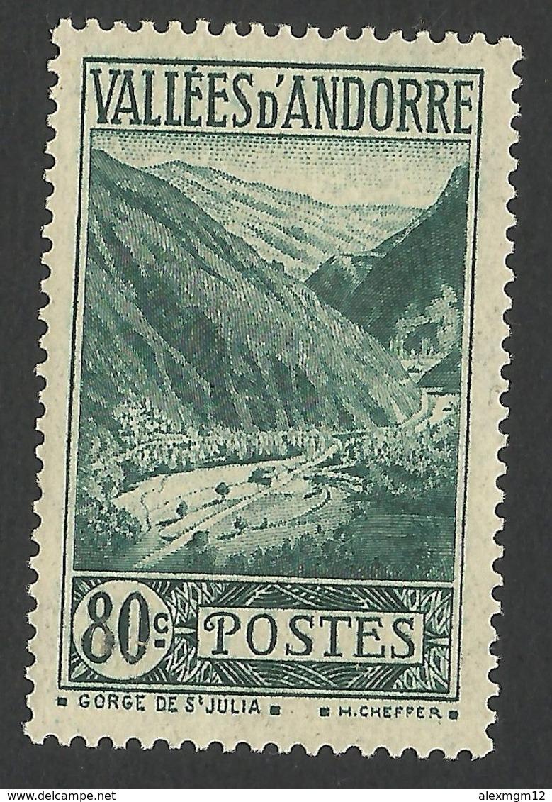 Andorra, 80 C. 1940, Sc # 46A, MH - French Andorra
