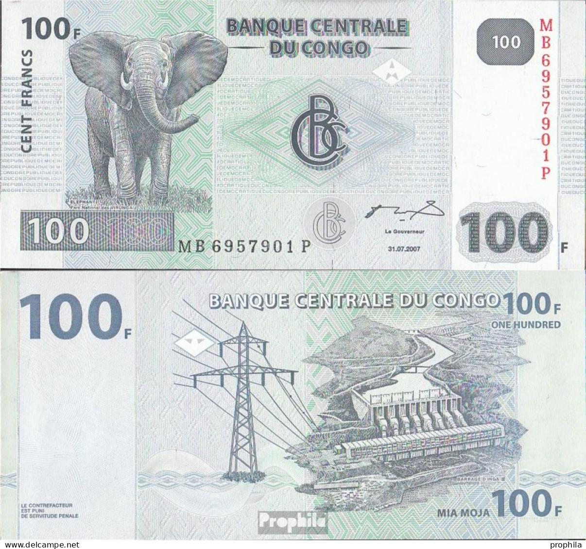 Kongo (Kinshasa) Pick-Nr: 98a Bankfrisch 2007 100 Francs - Congo
