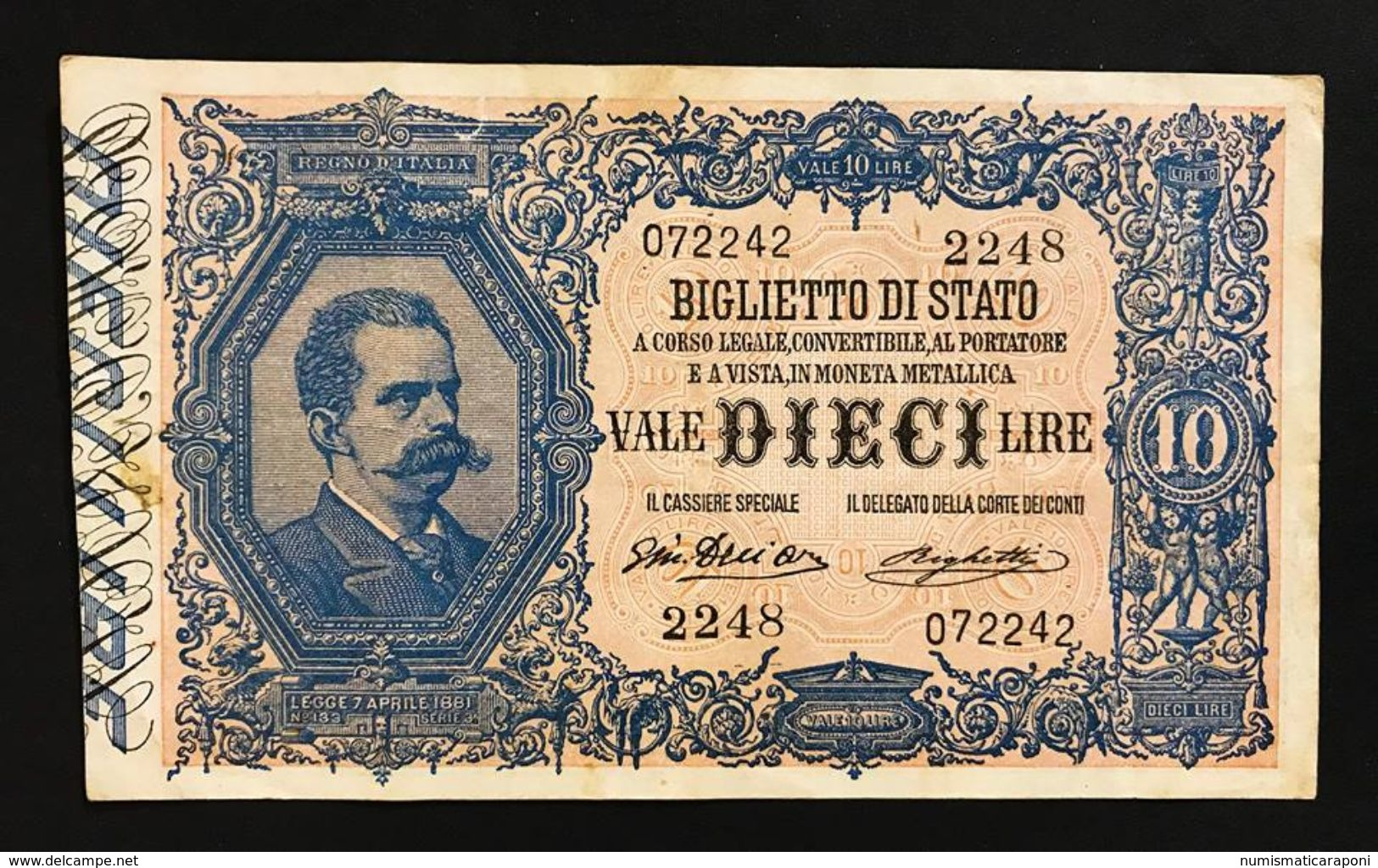 10 Lire Vittorio Emanuele III° Serie 2248 11 10 1915 Raro Naturale Bb/spl LOTTO 379 - [ 1] …-1946 : Reino