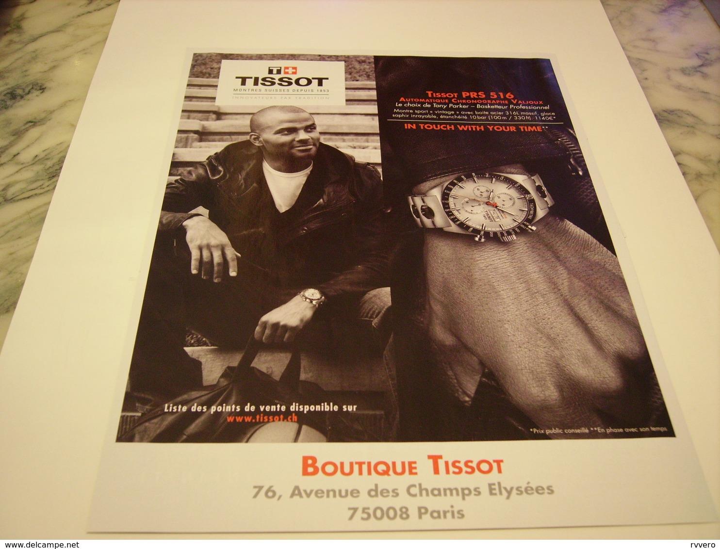 PUBLICITE AFFICHE MONTRE TISSOT AVEC TONY PARKER  2011 - Autres