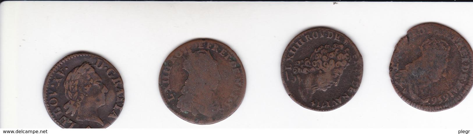 LOT 23 - 4 LIARDS DE FRANCE (LOUIS XIV - LOUIS XV) - 987-1789 Monete Reali