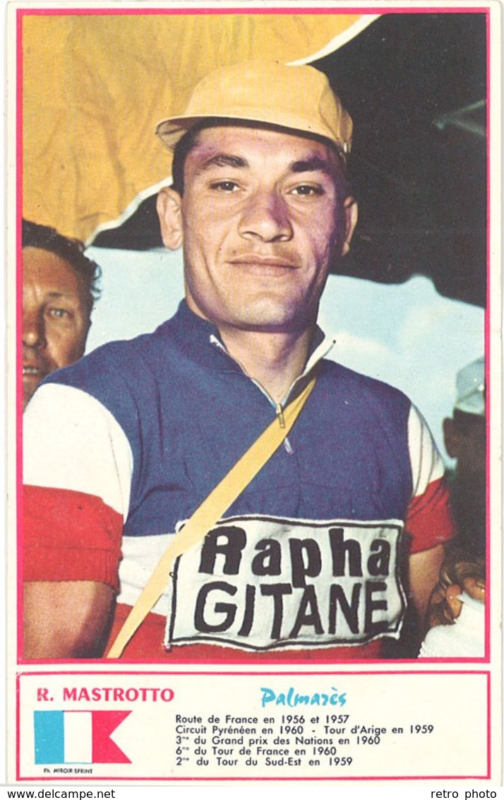 Carte Cycliste (verso Vierge) Carte Coureur Cycliste : R. Mastrotto, Palmarès, Gitane  ( Ph. Miroir Sprint ) ( SPO ) - Cyclisme