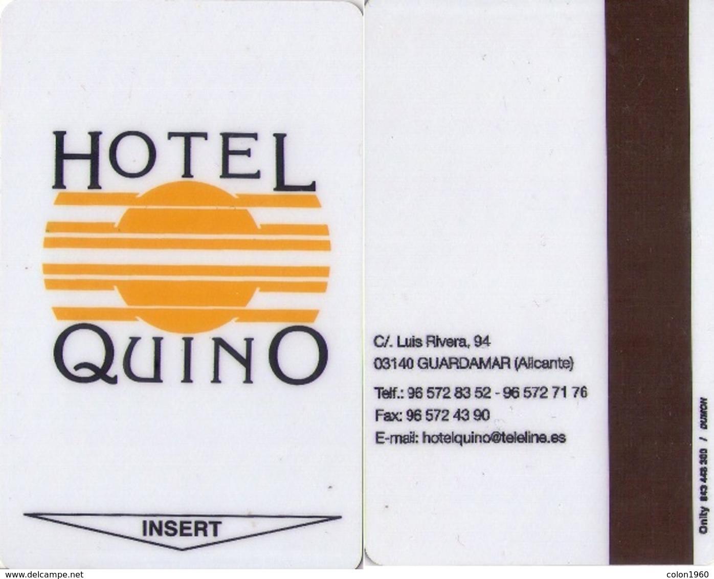 SPAIN. HOTEL KEY CARD. HOTEL QUINO (GUARDAMAR, ALICANTE). 006. - Cartas De Hotels
